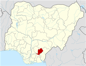 Map of Nigeria highlighting Ebonyi State
