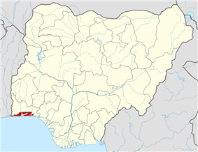 Location of Lagos State in Nigeria