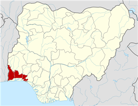 Map of Nigeria highlighting Ogun State