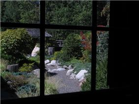 View from inside Internment Centre building looking to outside garden