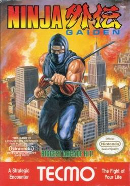 The logo of Ninja Gaiden is on the top of the screen. In the middle of the image is a depiction of a ninja in blue with a knife in his left hand and a bo and katana stored on his back. The ninja is portrayed in a background of a burning city. Below the ninja is green text saying in caps
