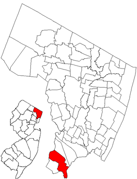Map highlighting Lyndhurst's location within Bergen County. Inset: Bergen County's location within New Jersey