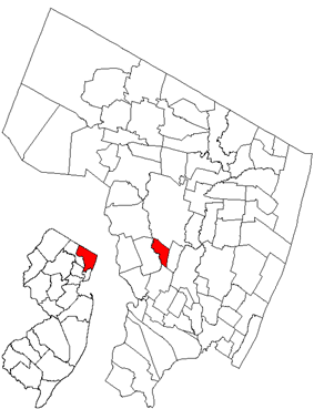 Map highlighting Rochelle Park's location within Bergen County. Inset: Bergen County's location within New Jersey.