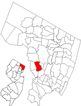 Map highlighting Saddle Brook's location within Bergen County. Inset: Bergen County's location within New Jersey.