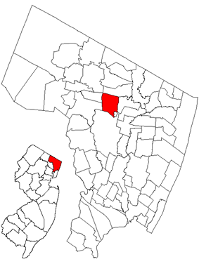 Map highlighting the Township of Washington's location within Bergen County. Inset: Bergen County's location within New Jersey.