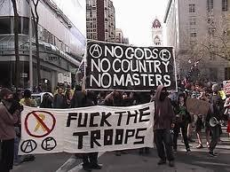 Anarchists carrying a banner