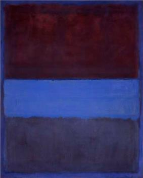 A vertical abstract painting in blue and red
