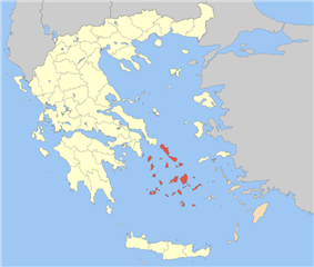 The Cyclades within Greece