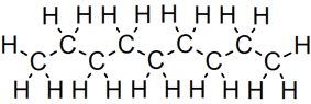 Skeletal formula of nonane with all implicit carbons shown, and all explicit hydrogens added