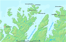 Map showing the location of North Cape