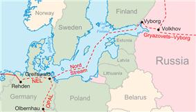 Location of Nord Stream