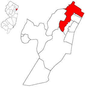 Map highlighting North Bergen within Hudson County. Inset: Location of Hudson County in New Jersey.