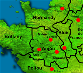 Colour map of Northern France at time of Henry I's death