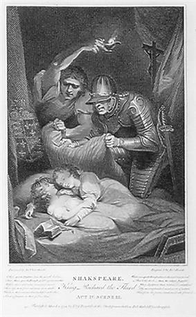 Two young boys with curls sleeping together as an armed man prepares to smother them and another holds a light assisting him.