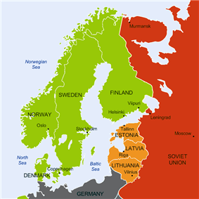 Map of the Northern Europe where Finland, Sweden, Norway and Denmark are tagged as neutral nations. The Soviet Union has military bases in the nations of Estonia, Latvia and Lithuania.