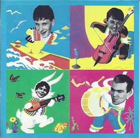 Top cover to the 1989 CD showing band members in a four-square cartoon setting.