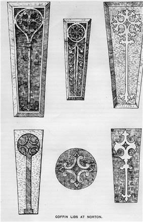 Five tapering coffin lids and a circular object. All are carved with a variety of types of decorated crosses.