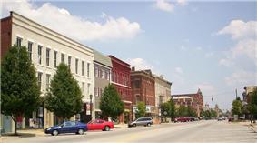 Uptown Norwalk, looking east on West Main Street