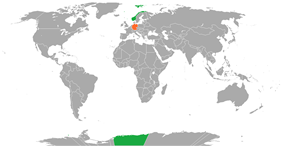 Map indicating locations of Norway and Germany