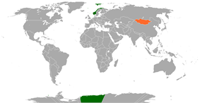Map indicating locations of Norway and Mongolia