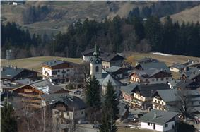 Notre-Dame-de-Bellecombe seen from the ski slopes
