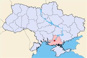 Map of Ukraine with Kakhovka highlighted.