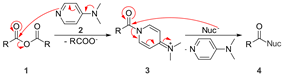 DMAP activates anhydrides towards nucleophilic substitution by creating a better leaving group.