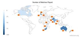 Number of Matches displayed on world map