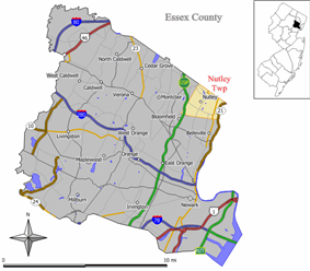 Map of Nutley Township in Essex County. Inset: Location of Essex County highlighted in the State of New Jersey.