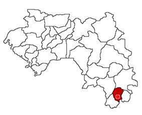 Location of Nzérékoré Prefecture and seat in Guinea.