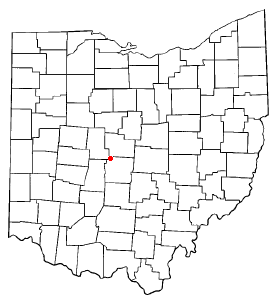 Location of Dublin within Ohio.