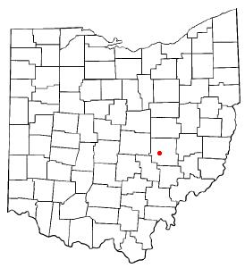 Location of Zanesville, Ohio