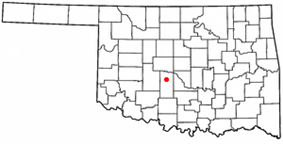 Location of Amber, Oklahoma
