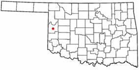 Location of Cheyenne, Oklahoma