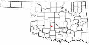 Location of Chickasha, Oklahoma