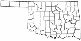 Location of Eufaula shown in Oklahoma