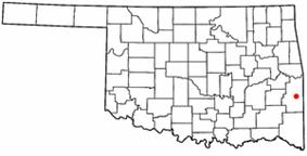 Location of Heavener, Oklahoma