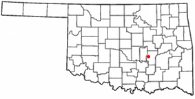 Location of Holdenville, Oklahoma