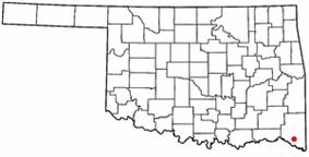 Location of Idabel, Oklahoma
