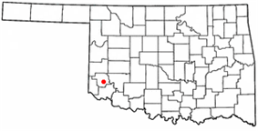 Location of Mangum, Oklahoma