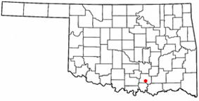 Location of Tishomingo, Oklahoma