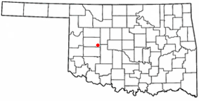 Location of Weatherford, Oklahoma