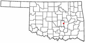 Location of Wewoka, Oklahoma