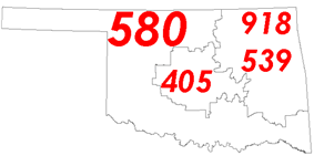 Map of Oklahoma with area code boundaries
