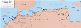 A map showing landings during Operation Torch.