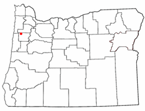 Location of Grand Ronde Reservation, Oregon