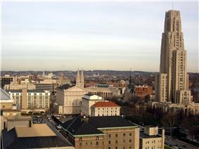 Looking east over the University of Pittsburgh and Schenley Farms Historic District