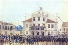 Colored sketch depicting a crowd of civilian and military figures standing and waving before the crowded balcony of a pedimented building with people looking on from its windows