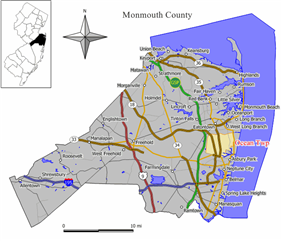 Map of Ocean Township in Monmouth County. Inset: Location of Monmouth County highlighted in the State of New Jersey.