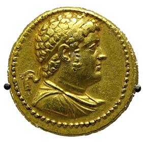 Gold octadrachm issued by Ptolemy IV Philopator, British Museum